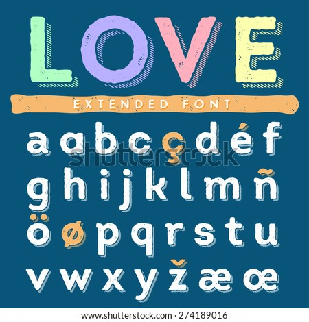 Funny hand drawn alphabet. Lowercase - stock vector