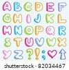 funny hand drawn alphabet on realistic paper page - stock vector