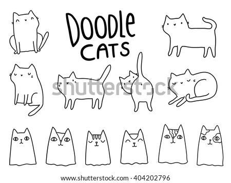 Funny hand drawn cats. Animals vector illustration with adorable kittens. - stock vector