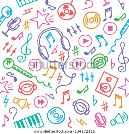 funny hand drawn seamless pattern with music symbols