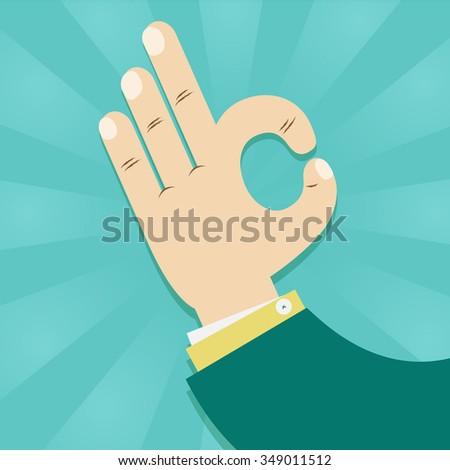 funny hands showing symbol ok. Okay hand sign. illustration vector - stock vector