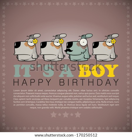 Funny happy birthday greeting card with cute cartoon dogs. - stock vector