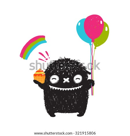 Funny Happy Cute Little Black Monster with Sweets Balloons Rainbow. Sweet kids playful holiday fictional character picture smiling. Vector illustration. - stock vector