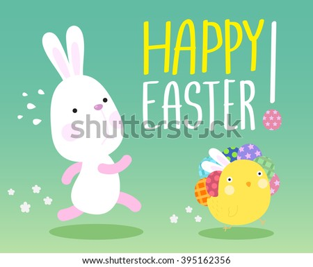 Funny Happy Easter concept with Bunny Chasing Chick carry easter eggs - stock vector