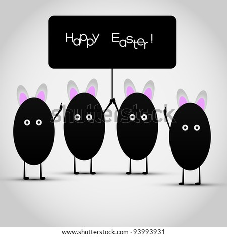 Funny Happy Easter Greeting Card - Vector Illustration - stock vector