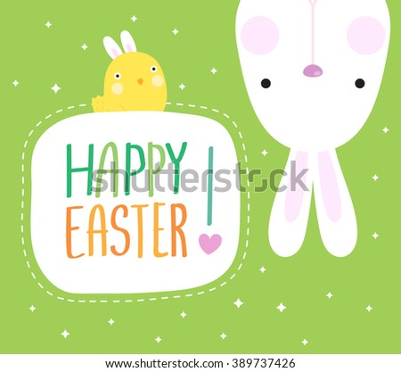 Funny Happy Easter with easter bunny and cute chick  - stock vector