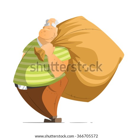 Funny happy old man oldman millionaire or billionaire pensioner holding a big money bag sack. Isolated on white background. - stock vector