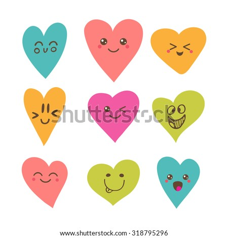 Funny happy smiley hearts. Cute cartoon characters. Bright vector set of heart icons. Creative hand drawn hearts with different emotions. Vector illustration - stock vector