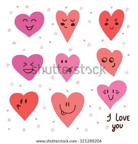 Funny happy smiley hearts. Cute cartoon characters. Bright vector set of heart icons. Vector illustration - stock vector