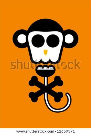 Funny head Series, monkey - stock vector