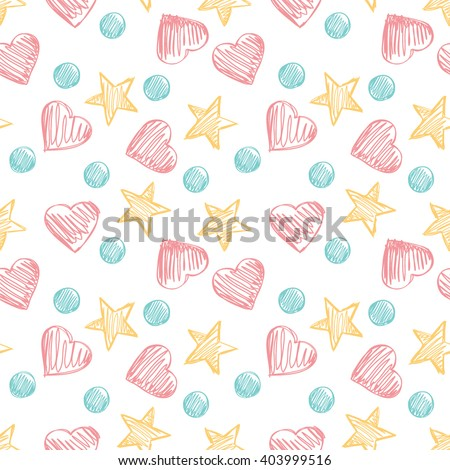 Funny hearts. Seamless vector pattern for your design. Great for Baby, Valentine's Day, Mother's Day, wedding, scrapbook, surface textures. - stock vector