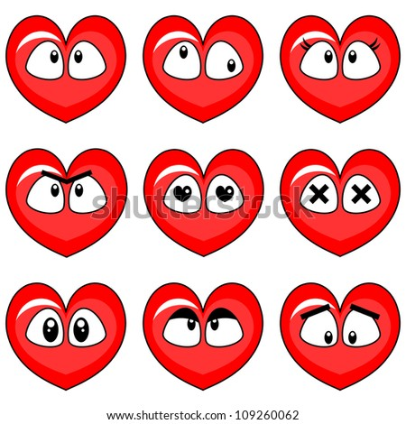 Face Cards Hearts Funny Hearts Smiley Faces Set