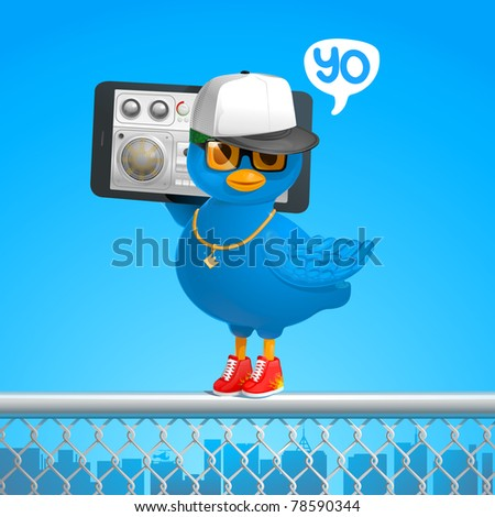 funny hip-hop style blue bird tweets in the ghetto with a phone gadget - stock vector