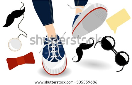 Funny hipster, sneakers and stylish accessories - stock vector