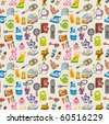 funny home thing seamless pattern - stock vector