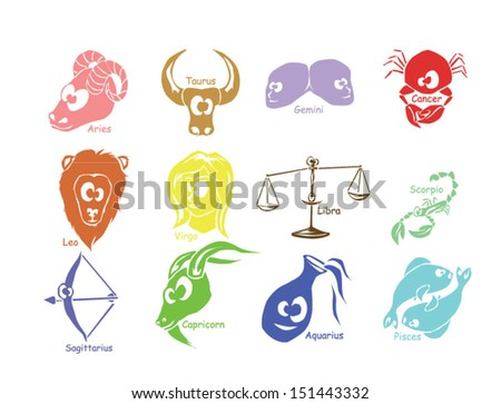 Funny horoscope zodiac signs in different color with names - stock vector