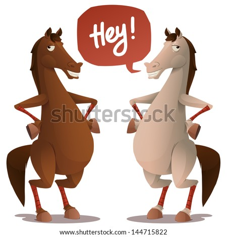 Funny horse character. isolated on white - stock vector