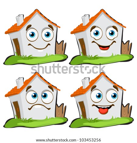 funny house characters with many expressions - stock vector