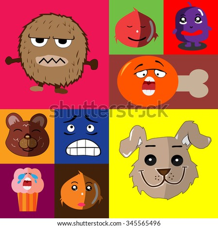 funny icon and emoticon animal set backgrounds
