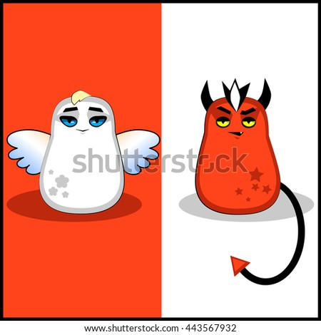 Funny illustration monsters angel and demon - stock vector