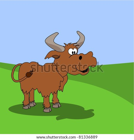 Funny illustration of a cattle, farm animals