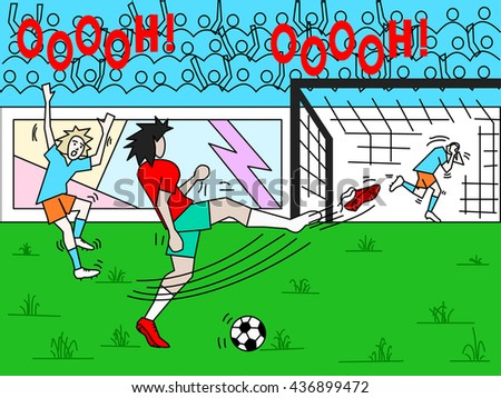 Funny illustration of a funny scene in a soccer game with player losing his football boot and crowd yelling - stock vector