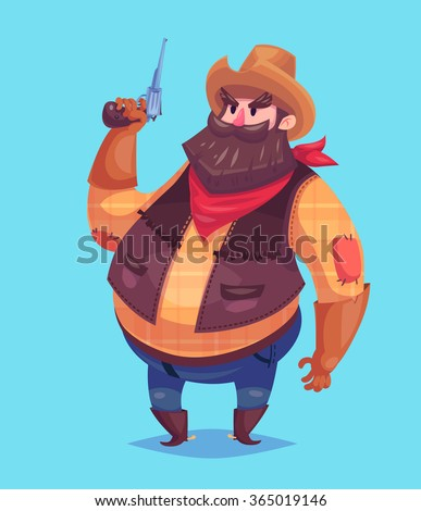 Funny  illustration of cute cowboy wearing a red bandana, hat and boots. Keep a revolver or a pistol in his hands. Vector cartoon character. Isolated on violet backgound. - stock vector