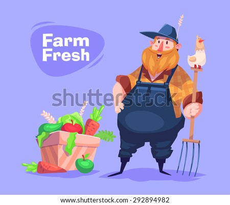 Funny  illustration of farmer cartoon character. Vector  - stock vector