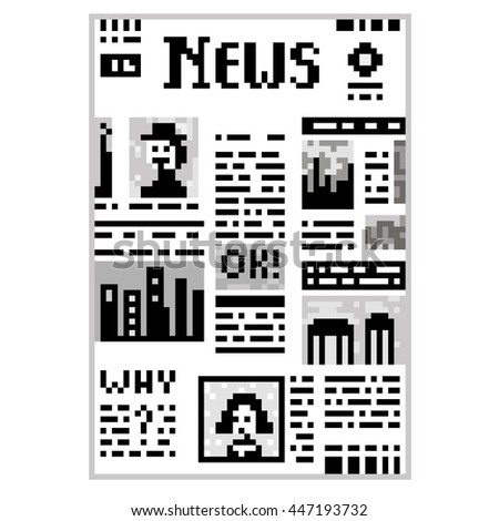 Funny illustration pixel art 8 bit black and white newspaper isolated on white background with lettering News people celebrity portrait text OK! columns images / vector eps 10 - stock vector