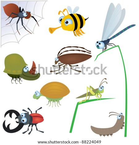 Funny insect set #2 - stock vector