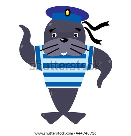 Funny jolly seal-sailor in vest and sailor hat. Children vector illustration - stock vector