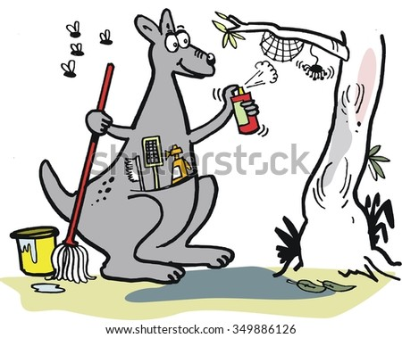 Funny kangaroo cartoon vector showing marsupial spring cleaning with mop and bucket. - stock vector