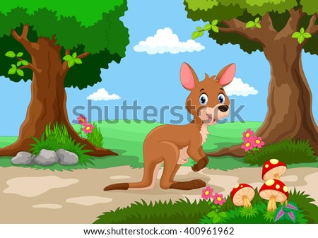 Funny kangaroo with a background of a beautiful garden  - stock vector