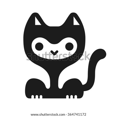 Funny kawaii cat character. Vector image.