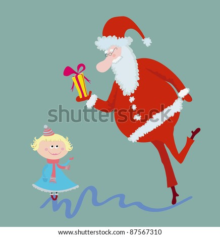 Funny kid and Santa with gift