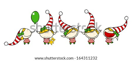 Funny kids - elf girl - stock vector