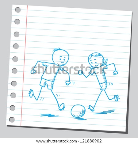Funny kids playing soccer - stock vector