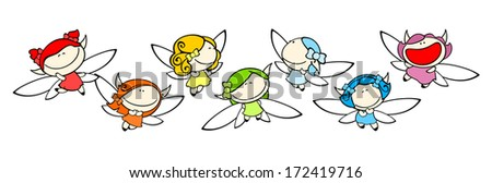 Funny kids #77 - rainbow fairies - stock vector