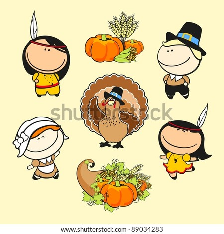 Funny kids #59 - thanksgiving day - stock vector