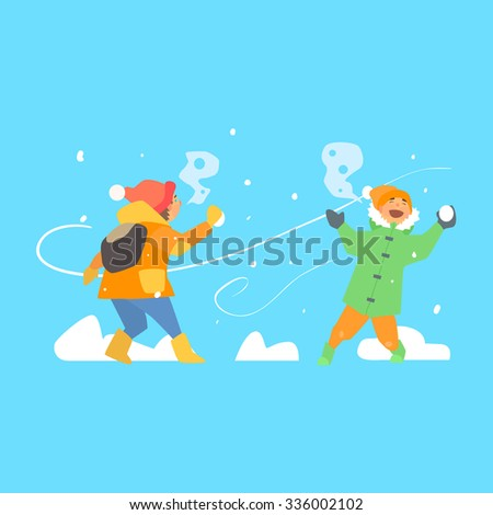 Funny Kids Throwing Snowballs. Vector Illustration Flat style - stock vector