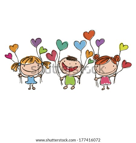 funny kids with hearts - stock vector