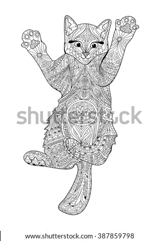 Stock Vector Funny Kitten Coloring Book For Adults Zentangle Cat Hand Drawn Illustration 387859798