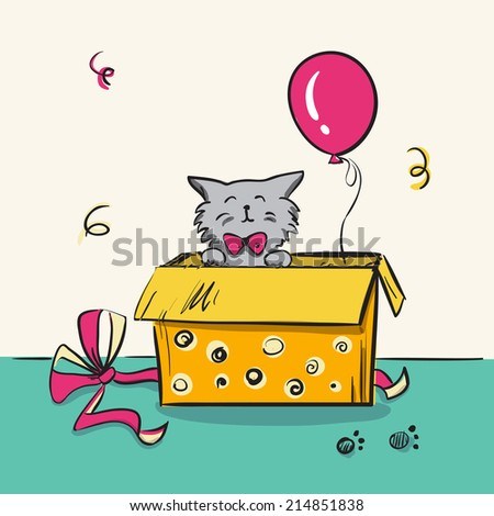 Funny Kitten Box Colorful Birthday Card Stock Vector 214851838
