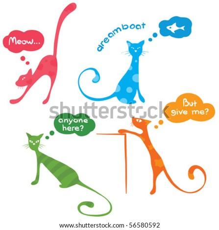 funny kitties - stock vector