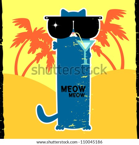 Funny kitty in sunglasses on vacation - stock vector