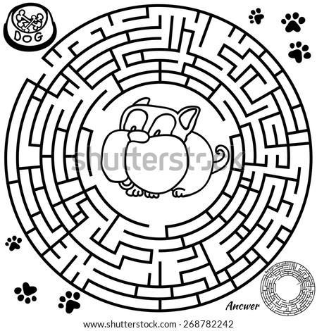 Funny labyrinth. Help the dog find the bone. Vector cartoon dog illustration. Rebus in black color on Isolated background. Answer included. Eps 8 - stock vector