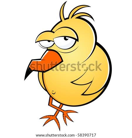 funny lazy cartoon bird - stock vector