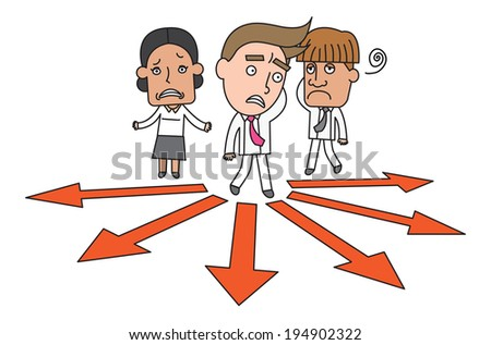 Funny line character illustration Business Story series - stock vector