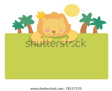 funny lion frame page - stock vector