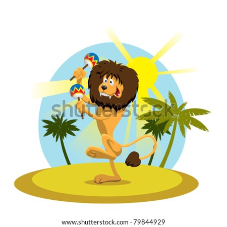 funny lion plays maracas and dancing in front of palm trees - stock vector
